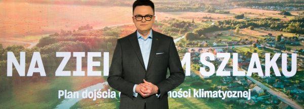 Szymon Hołownia podczas prezentacji programu klimatycznego Polski 2050
