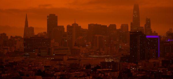 San Francisco w czasie pożarów w Kalifornii w 2020 r